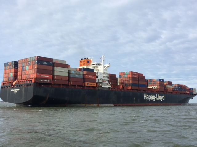 Massive container ship entering the channel - Savannah, GA