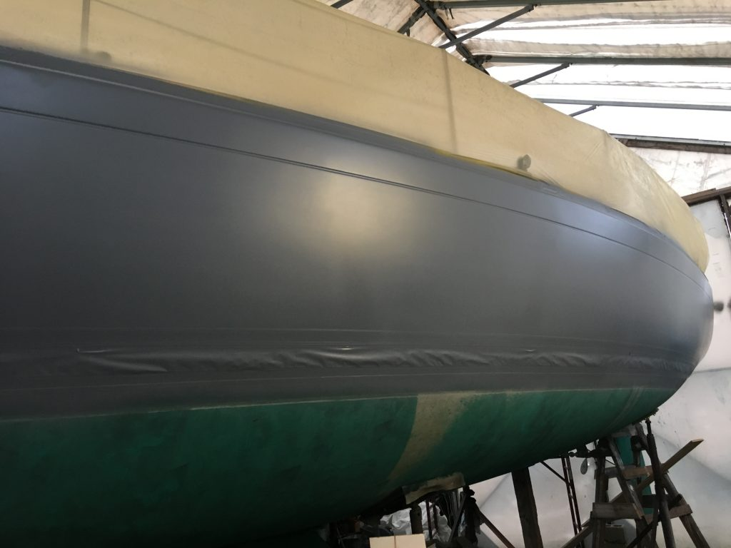 "Sabre 386 primed and almost ready for her ""Flag Blue"" Awlgrip"